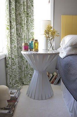 DIY Bedside Table from Matsutake.  Less than $30 in materials and with endless possibilities for color/ribbon variation. Could also be made to look like hand percussion?