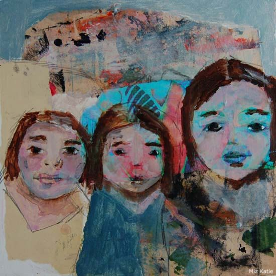 Three Sisters on a Camping Trip Collaged Portrait Painting