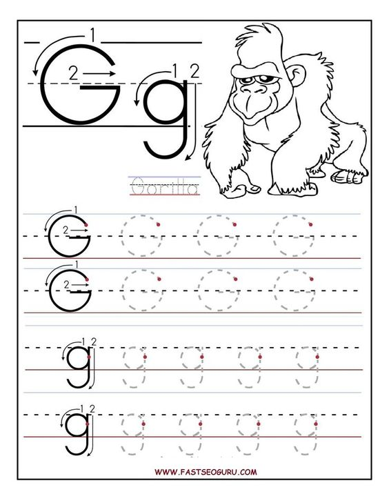worksheets for preschoolers | Printable letter G tracing ...