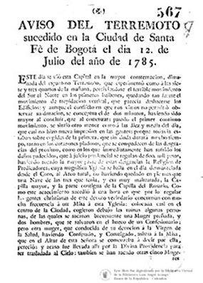 Portada Aviso de Terremoto 1875