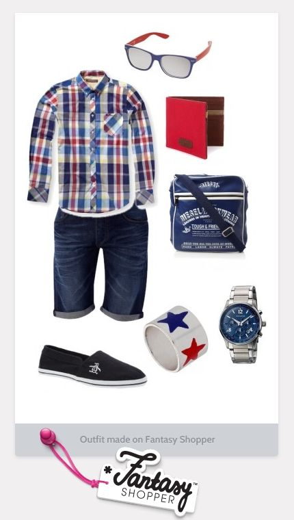 Men, go Geek Chic with this blue check shirt from Topman paired with a Captain America themed Band Ring