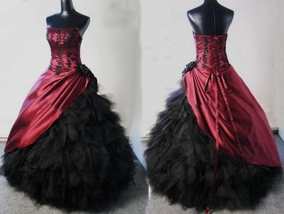 2015 Burgundy Black Corset Ball Gown Victorian Gothic Bridal Gowns Wedding Dress