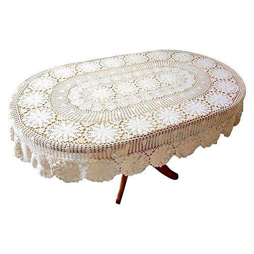 ustide vintage oval crochet tablecloth