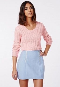 Aqsa Knitted Cable Crop Jumper Pink