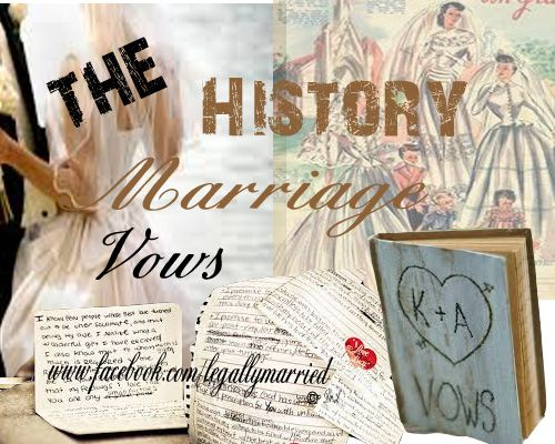 The History of Wedding Vows - An image from a discussion on The Recent History of Marriage Vows Giving.... Boy have things changed! by Dr. Linda  - https://www.facebook.com/photo.php?fbid=10154265582970277set=a.10152795163670277.1073741827.179984010276type=1theater