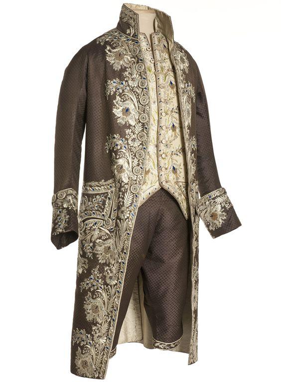 habit la fran aise habit gilet et culotte france vers 1785 1790 cannel fa onn liser. Black Bedroom Furniture Sets. Home Design Ideas