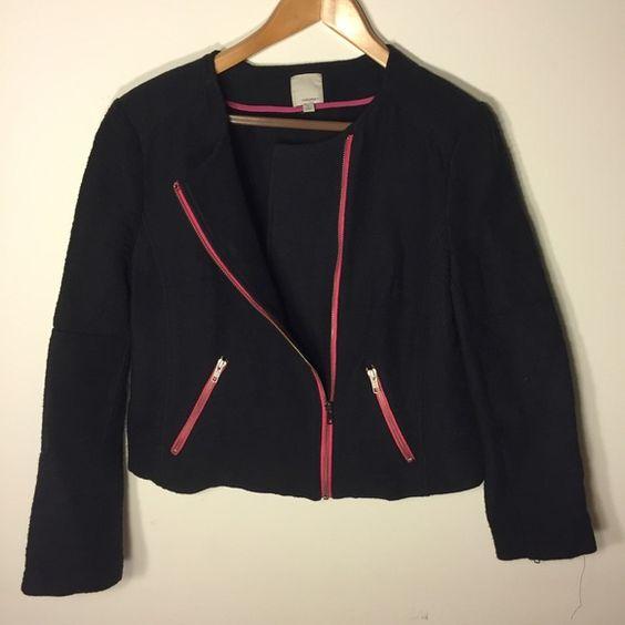 HP  Navy blazer/jacket with pink zipper accents Super cute short blazer - never worn Halogen Jackets & Coats Blazers