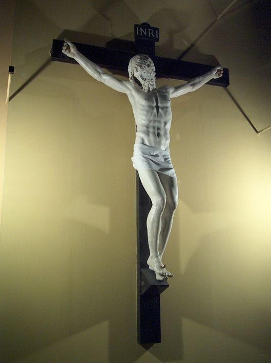 Although originally intended to be placed over his tomb, this crucifix was sold to the Medici family who gave it to Spain. Today the crucifix is in the Escorial Monastery near Madrid. Benvenuto Cellini