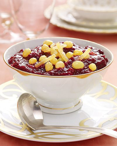 Traditional cranberry sauce gets a sophisticated twist by adding golden raisins.