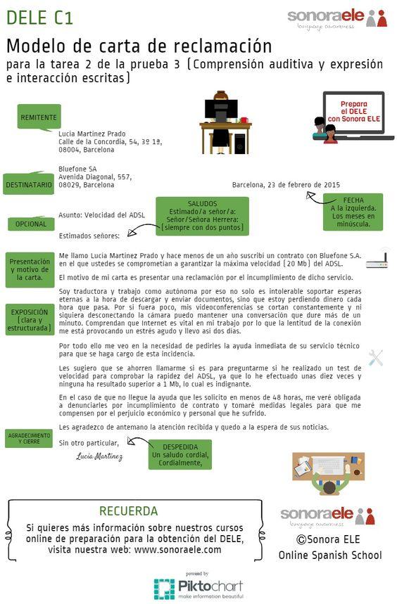 DELE C1: Modelo de carta de reclamación de Sonora ELE para la Prueba 3 del examen | Piktochart Infographic