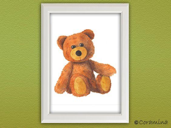"""Wandbild """"Teddybär"""" limitierte Edition von Coramina - Illustration und Design auf DaWanda.com"""