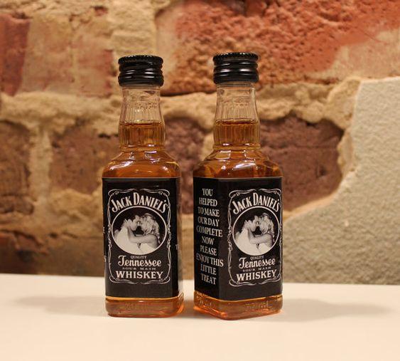 $10 Custom Jack Daniels Mini Bottle Labels Wedding Favors Thank You Bride Groom Photo Liquor Whiskey Bachelorette Bachelor Party Groomsmen Gifts