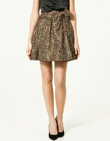 Zara Brocade Skirt with Bow