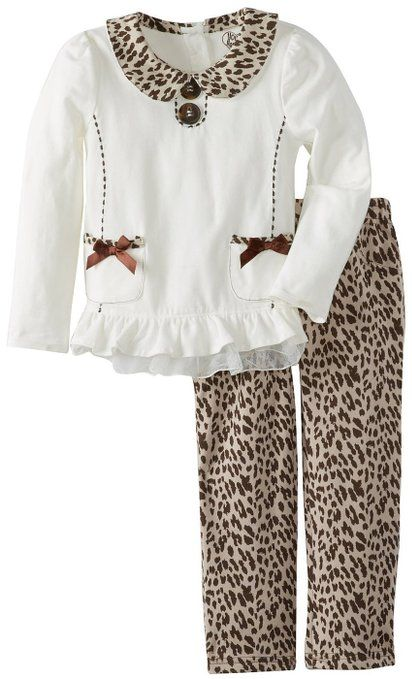 Young Hearts Little Girls' 2 Piece Pocket Cat Print Shirt and Pant, White, 2T