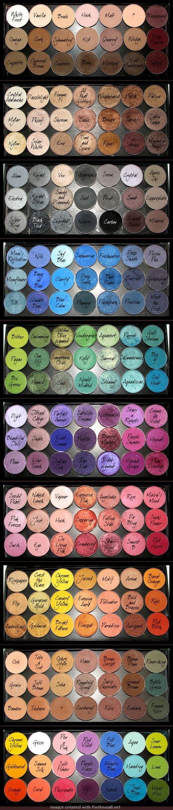 MAC Eyeshadows : Blackberry, Club, Beautiful iris, Indian ink, Embark, Haux, Brown Script.