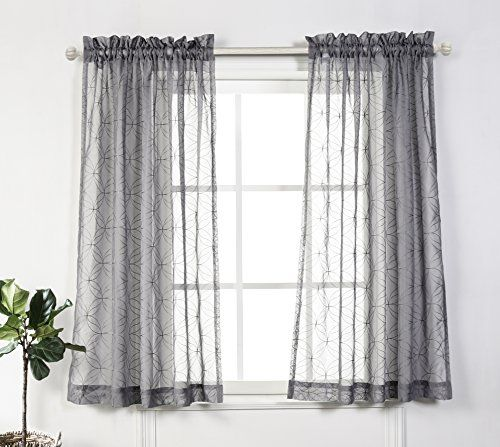 Mysky Home Rod Pocket Sheer Curtains For Bedroom By Embroidery