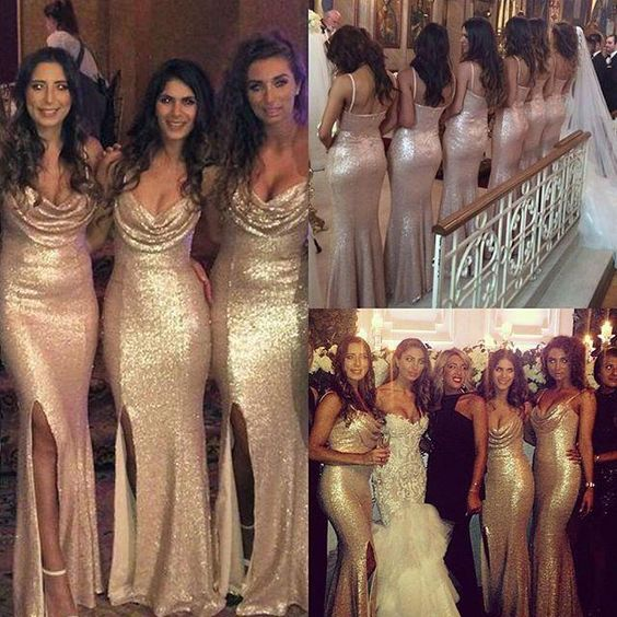 2016 New Gold Sequins Sheath Cheap Bridesmaid Dresses Scoop Neck Spaghetti Straps Side Split Backless Mermaid Long Prom Evening Gowns Ba1070 Dusky Pink Bridesmaid Dresses Gold Bridesmaid Dress From Allanhu, $111.42  Dhgate.Com