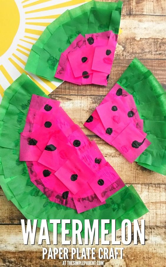 Watermelon crafts paper plate crafts and plate crafts on for Fun crafts for kids of all ages