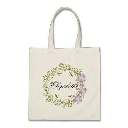 #bridesmaid - #Personalized Watercolor Floral Wreath Wedding Tote Bag