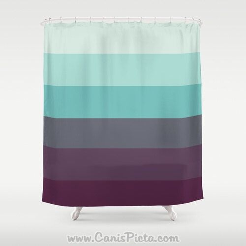 Shower Curtain Saltwater Swimsuit Ombre 71 X 74 Mint Aqua Purple Amethyst Turquoise Teal Sea