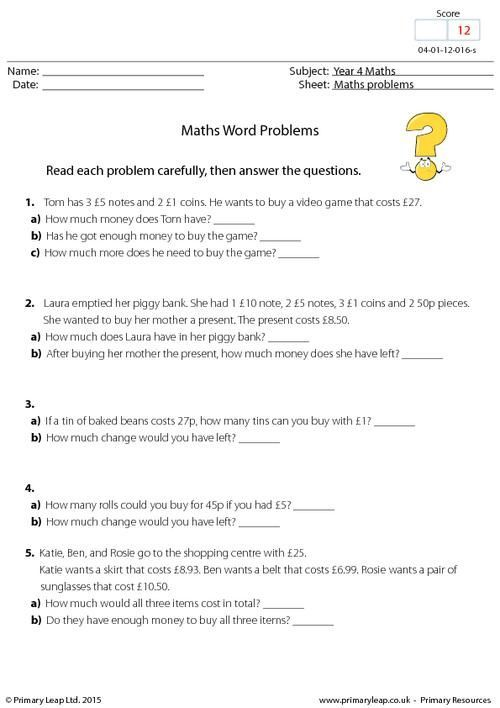 Primary School Maths Worksheets Problems Math Word Problems Word Problems Math Words