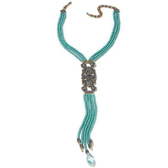 "HEIDI DAUS ""Shirli Stunning"" 3-Row Beaded Tassel Drop Necklace"