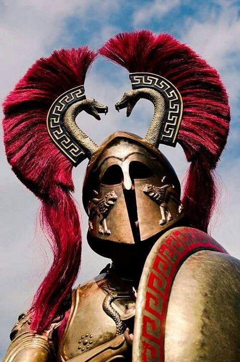 Greek helmet, which looks like the samurai helmets with metal hornlike decoration.