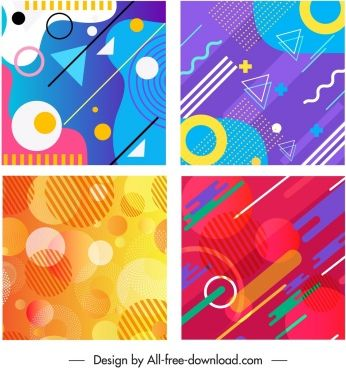 Abstract Background Templates Colored Flat Geometric Design Free