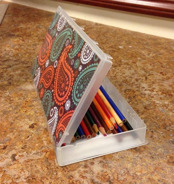 Great recycle project from Rogers. Turn old VHS cases into pencil boxes. Great idea!: