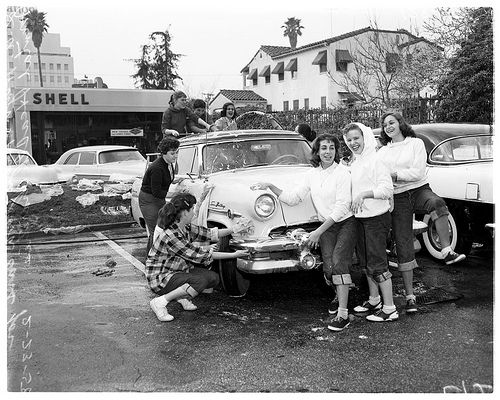 At the car wash 1958