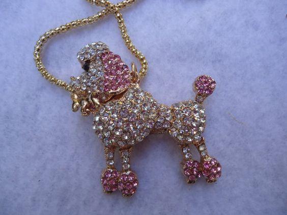 Repurpose Rhinestone Pink and White Poodle by GrannysInspirations, $14.99