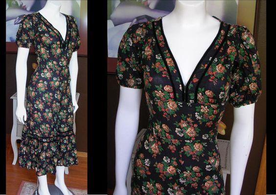 Vintage 1970s ROBBIE BEE Black Floral by WestCoastVintageRSL, $34.00