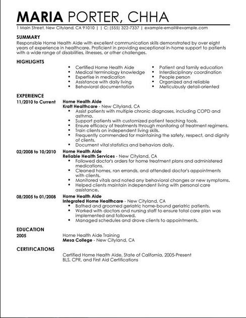 Certified Home Health Aide Resumes -   jobresumesample/1765 - bartender resume example