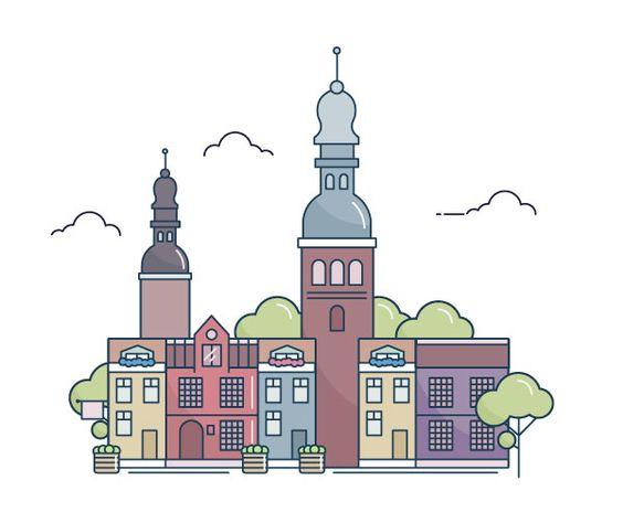 Line Art Adobe Illustrator : How to create a line art city landscape in adobe