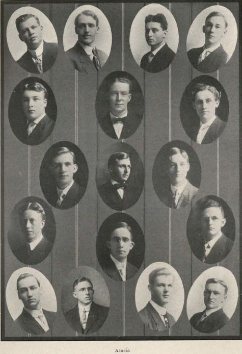 Acacia fraternity 1909-10.  From the 1911 Oregana (UO Yearbook).  www.CampusAttic.com