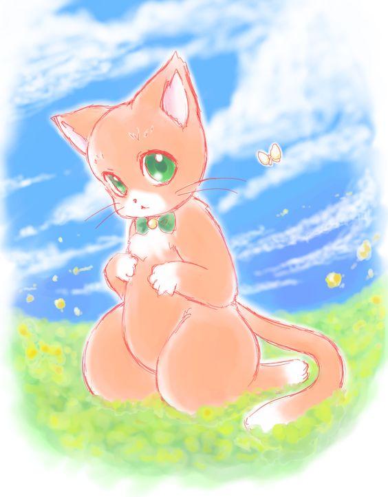 猫キャラクターみかん絵日記