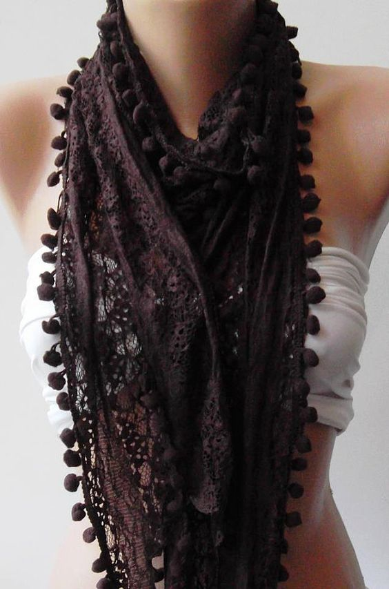 Brown  Lace and Elegance Shawl / Scarf  with Pompom by womann, $15.50