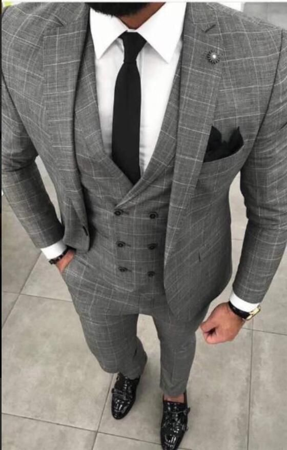 Men\u0027s Plaid Suit Plus Size Three Piece Men\u0027s Suit Grey
