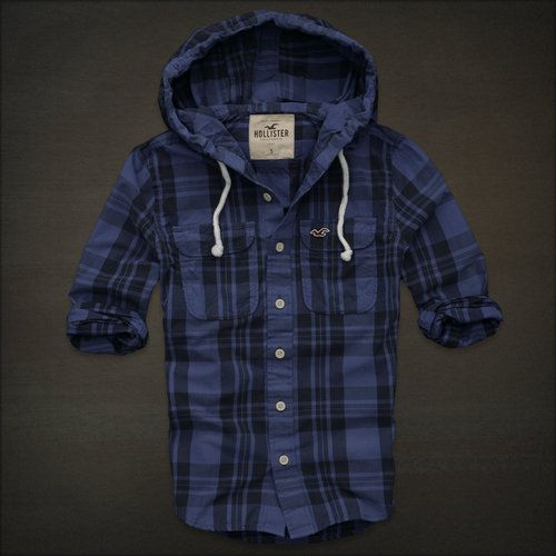men 39 s hollister ventura beach blue plaid hoodie casual