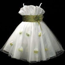 """Φορέματα για Παρανυφάκια - Πάρτυ :: Έκπτωση - Τελευταία Κομμάτια! Μοναδικό Λευκό με Λαδί - Πράσινο, Φόρεμα για βάφτιση, Παρανυφάκι, Πάρτι Σε Τιμή Ευκαιρία """"Dolly"""" - MEMOIRS Νυφικά και Γυναικεία Φορέματα"""