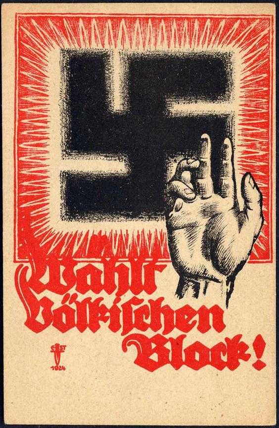 1924 Wählt völkischen Block, seltene frühe Hakenkreuzkarte