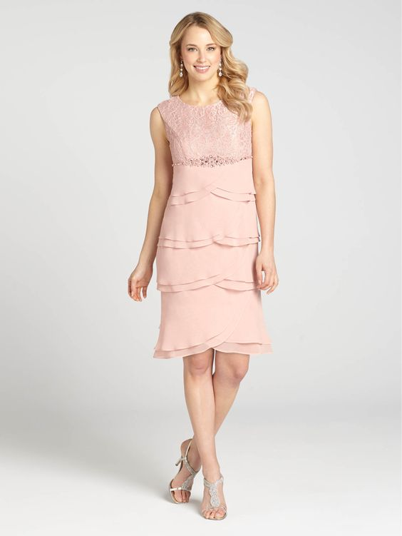 Laura Petites - Glitter &amp- Lace Tiered Chiffon Dress - Soft Pink ...