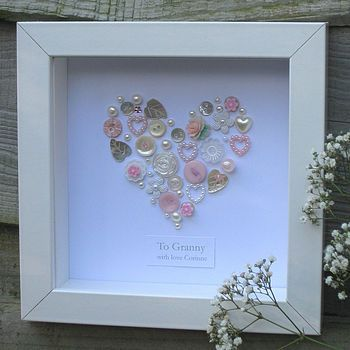 Personalised Button Heart. Very sweet!
