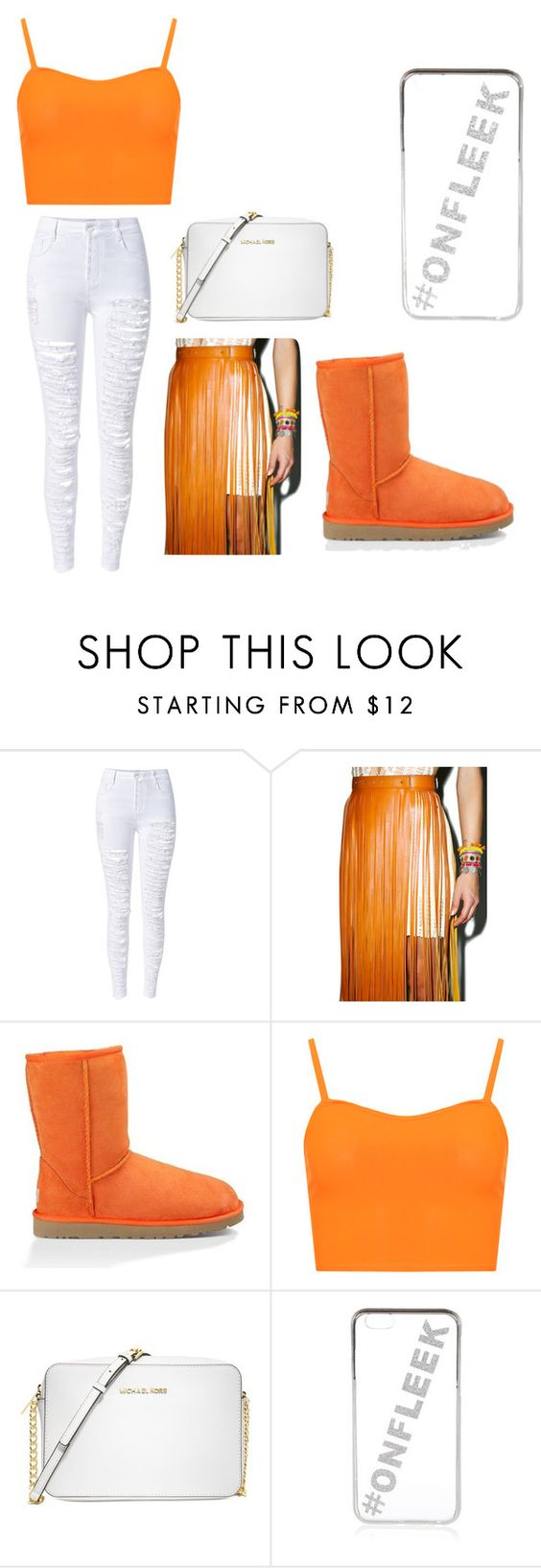 """""""Untitled #57"""" by angel22345 ❤ liked on Polyvore featuring WithChic, 3AM Imports, UGG Australia, WearAll, Michael Kors and River Island"""