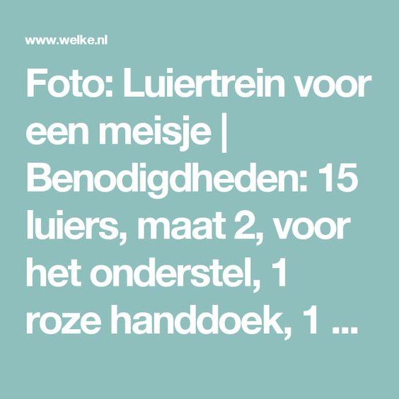 Foto: Luiertrein voor een meisje   Benodigdheden: 15 luiers, maat 2, voor het onderstel, 1 roze handdoek, 1 speen, 1 roze Nijntje, 1 kerstbal 'my first christmas' voor de voorkant, 1 roze mandje voor de cadeautjes, 1 kubus voor het achterstel, 10 meter gekleurd lint, 1 stuk laminaat voor de onderkant   Succes en veel plezier met geven!. Geplaatst door leoblo op Welke.nl