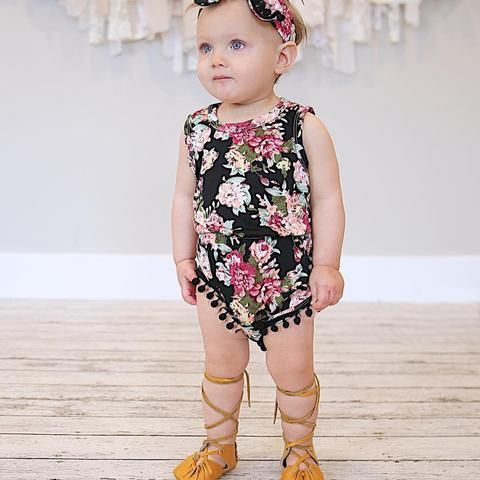 Baby Girl Clothes Baby Romper Toddler Romper Black and White Birthday Outfit Model Matching Headband Headwrap Holiday 2 Piece Set