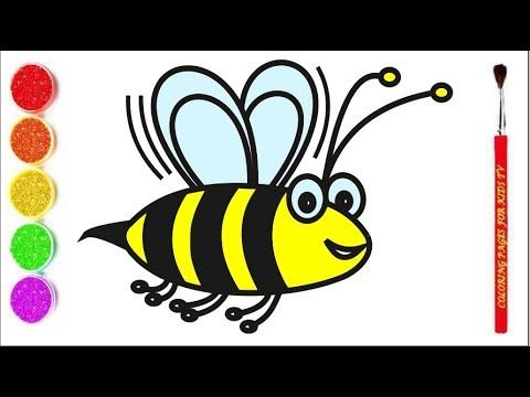 How To Draw Bee Learning Coloring Pages For Kids Draw Bee For Kids Drawing For Kids Bees For Kids Drawings
