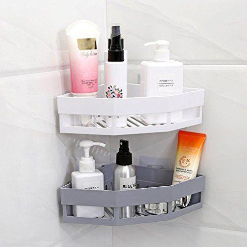Sinwo Plastic Suction Cup Bathroom Storage Kitchen Corner Storage Rack Organizer Shower Shelf W Shower Shelves Kitchen Corner Storage Corner Storage
