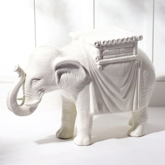 Elephant Side Table in Ceramic design by Twos Company