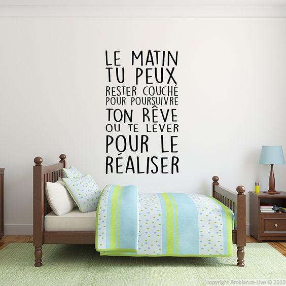 Sticker citation Réaliser tes rêves... - stickers Citations Français - ambiance-sticker